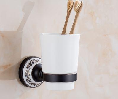 Стакан подставка черный настенный для зубных 0448