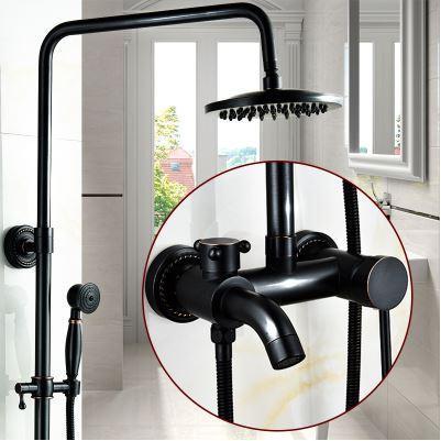 Душевая стойка черная для ванной со смесителем краном лейкой и верхним душем 0229
