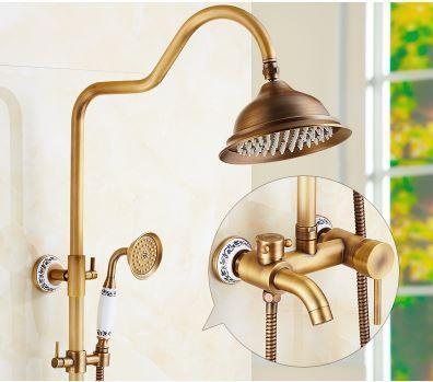 Душевая стойка для ванной комнаты со смесителем краном лейкой и верхним душем бронза 0232