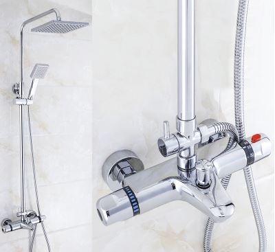 Душевая стойка в ванную со смесителем краном лейкой и верхним душем 0235