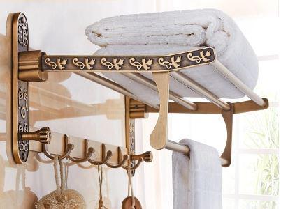 Полка для полотенец и халатов с откидным верхом настенная в бронзе 0521