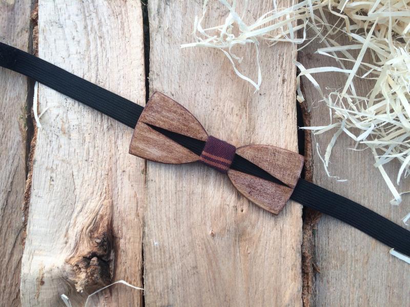 Деревянная бабочка галстук флоуресцентная ручной работы Модель №4