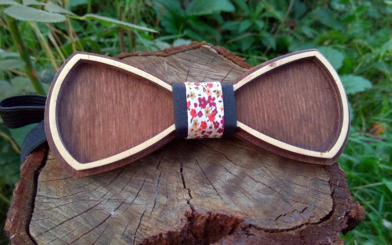 Деревянная бабочка галстук Ободок Цветы - 3 ручной работы, серия Fantasy