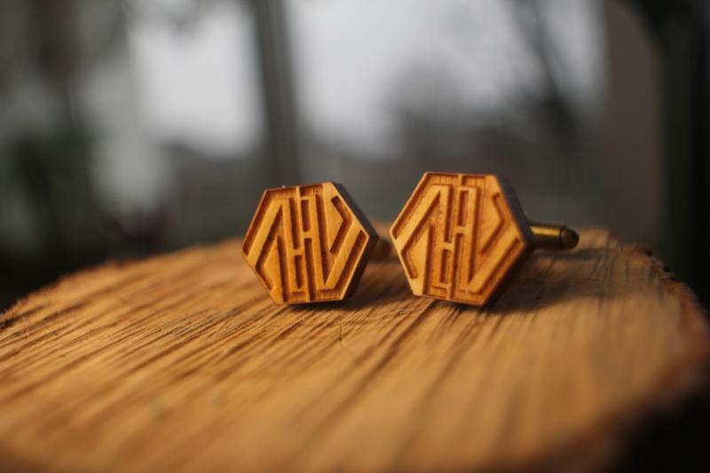 Деревянные запонки № 13 ручной работы