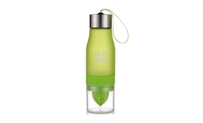 Бутылка для воды и напитков H2O с цитрусовой соковыжималкой 650 мл Зеленая (SUN0031)