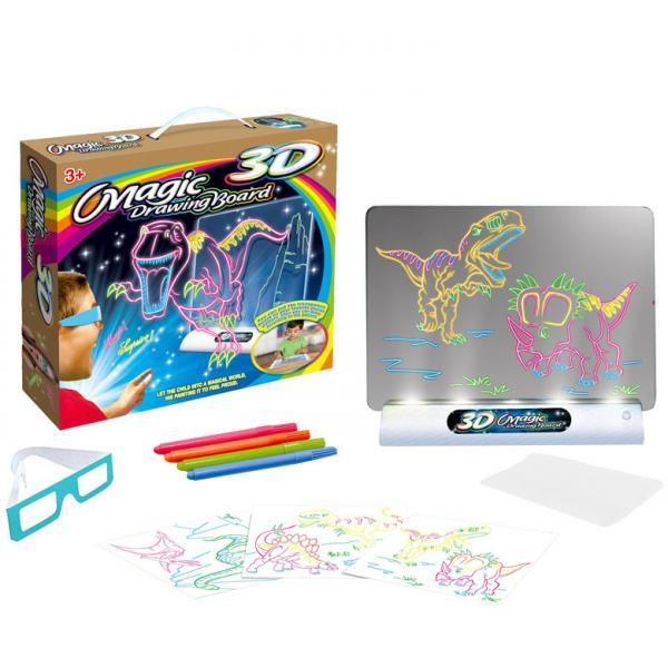 Электронная доска для рисования SUNROZ 3D Magic Drowing Board Динозавры с подсветкой и 3Д эффектом (SUN0145)