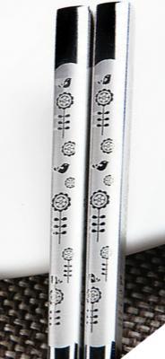 Палочки для еды 23 см нержавеющая сталь рисунок Корейский узор (Птицы и цветы)