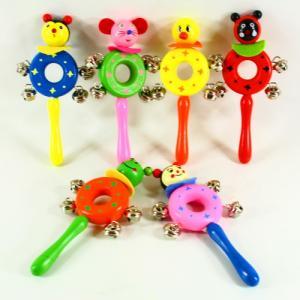 Фото Игрушки для самых маленьких Детская деревянная погремушка бубенчики
