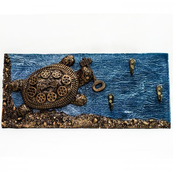 """Ключница на стену """"Черепаха стимпанк"""" Оригинальные подарки ручной работы на день рождения юбилей"""