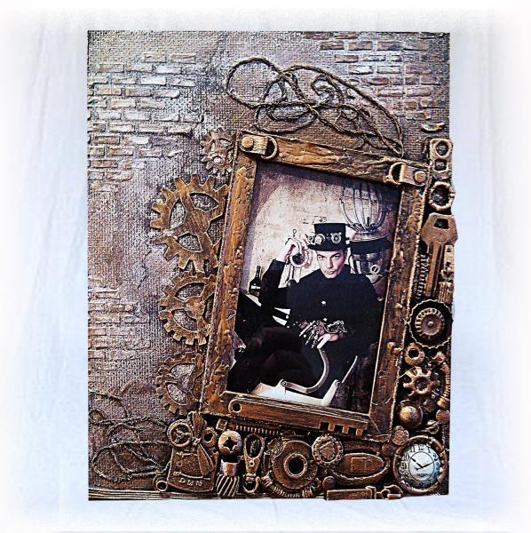 Фоторамка для мужчины в стиле steampunk Подарок парню на день рождения
