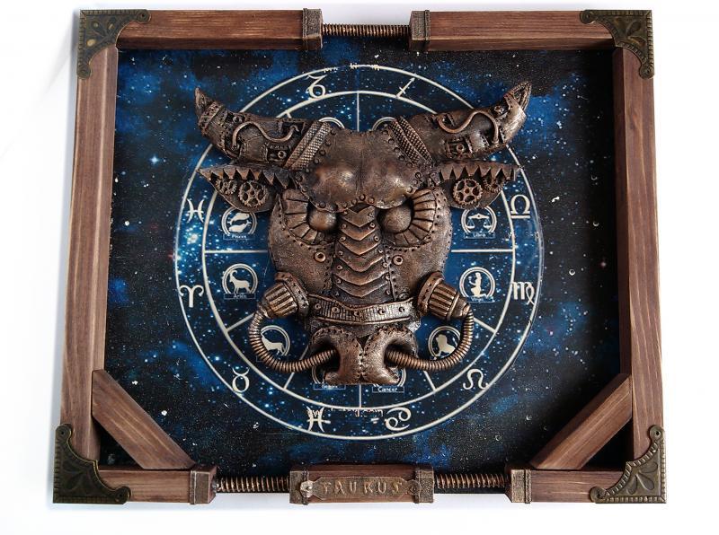 """Интерьерное панно стимпанк """"Zodiac Taurus""""  Подарок для мужчины Тельца Ручная работа"""