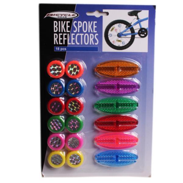 Велосипедные декоративные светоотражатели на спицы, 18 шт
