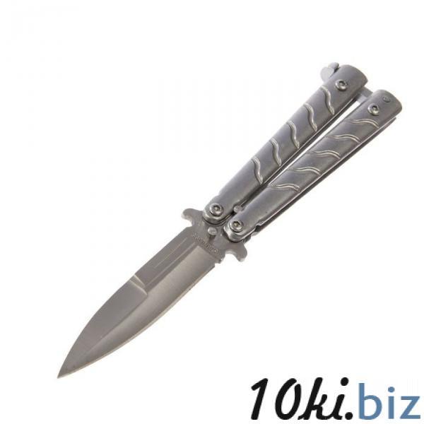 Нож бабочка темный хром, лезвие 7,7см, рукоять с полосами 9,2см купить в Беларуси - Ножи бабочки