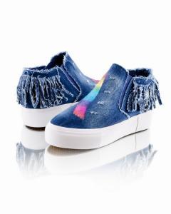 Фото Женщинам, Женская обувь, Женские кеды Кеды джинсовые с бахромой