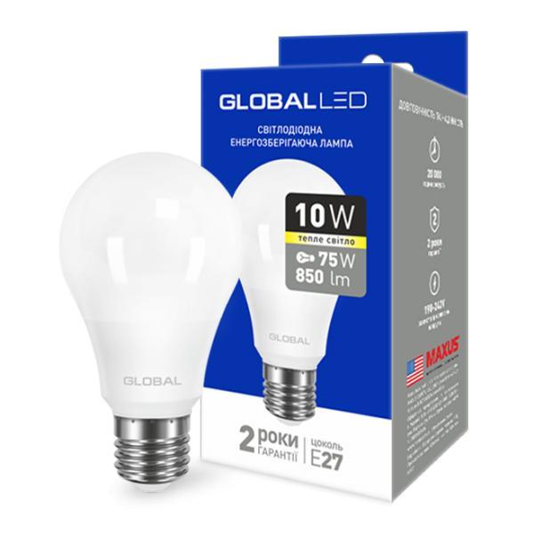 LED лампа GLOBAL A60 10W  220V E27 (теплый свет)