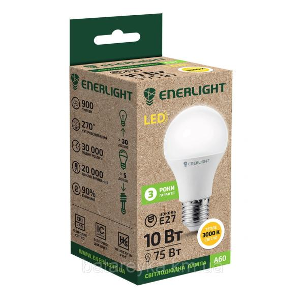 Лампа светодиодная ENERLIGHT A60 10Вт 3000K E27