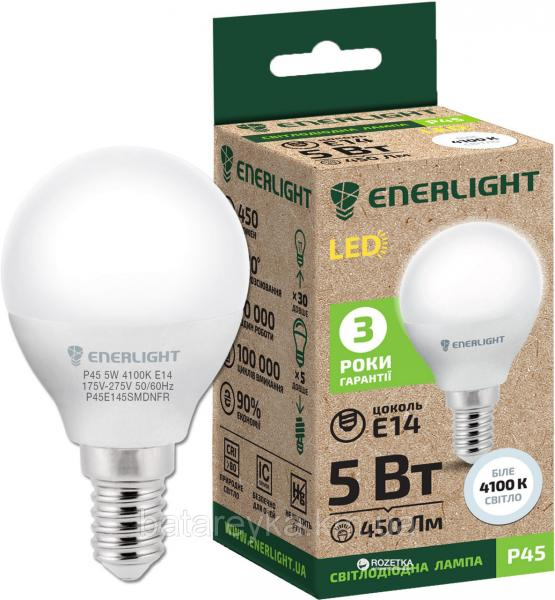 Лампа светодиодная ENERLIGHT P45 5 Вт 4100K E14