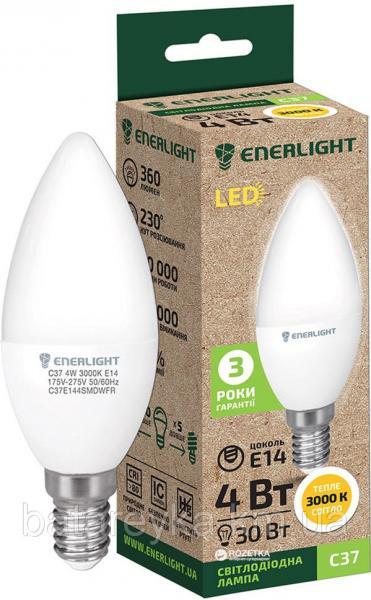 Лампа светодиодная ENERLIGHT С37 4Вт 3000K E14