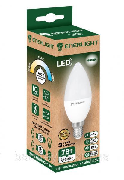 Лампа светодиодная ENERLIGHT С37 7Вт 4100K E14