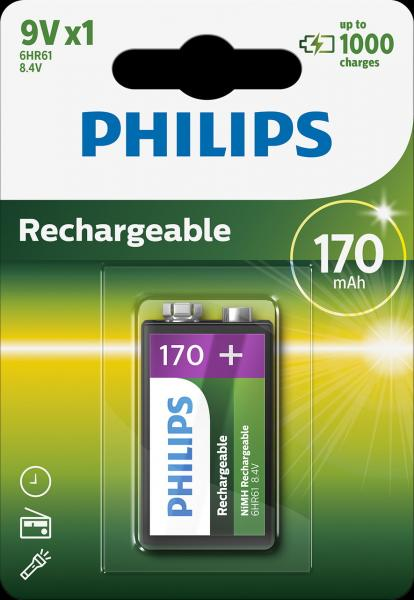 Аккумулятор PHILIPS Rechargeable  9V/6F22 170mAh