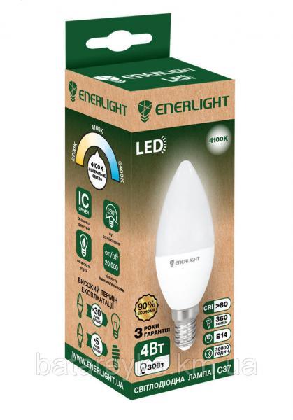 Лампа светодиодная ENERLIGHT С37 4Вт 4100K E14