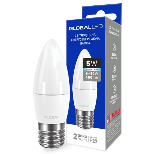 LED лампа GLOBAL C37 CL-F 5W 220V E27 (яркий свет)