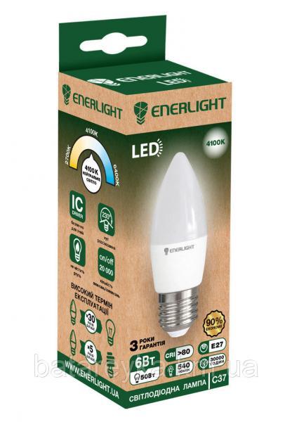 Лампа светодиодная ENERLIGHT С37 6Вт 4100K E27