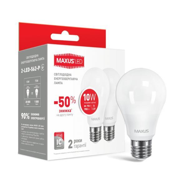 Набор LED ламп MAXUS A60 10W  220V E27 (яркий свет)