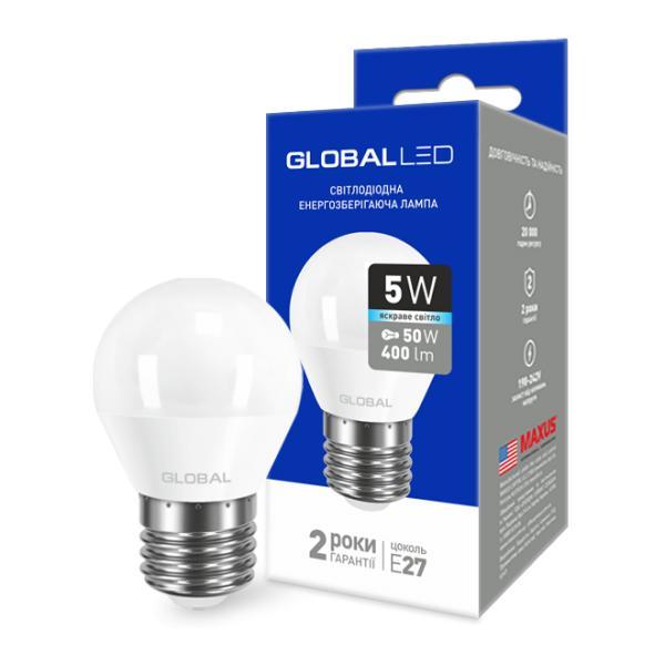 LED лампа GLOBAL G45 F 5W 220V E27 (яркий свет)