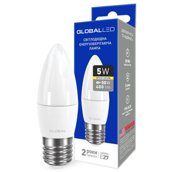 LED лампа GLOBAL C37 CL-F 5W 220V E27 (теплый свет)