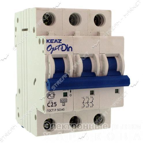 Автомат КУРСК ВМ-63 'Opti Din' (Optima) трехпол. 63А - Автоматические выключатели, УЗО на рынке Барабашова