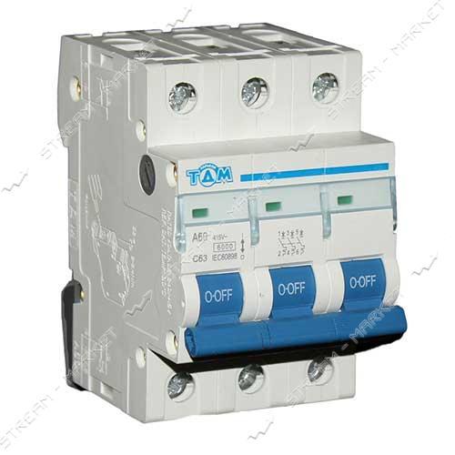 ТДМ автоматический выключатель трехполюсный 3Р 63А (6кА)