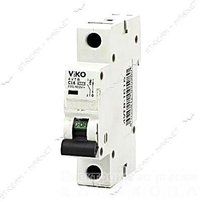 Автоматический выключатель однополюсный Viko 1р 16А С 4, 5кА - Автоматические выключатели, УЗО на рынке Барабашова
