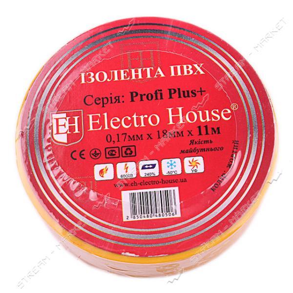 Изолента ПВХ Electro House 18x0.15мм 11 м желтая