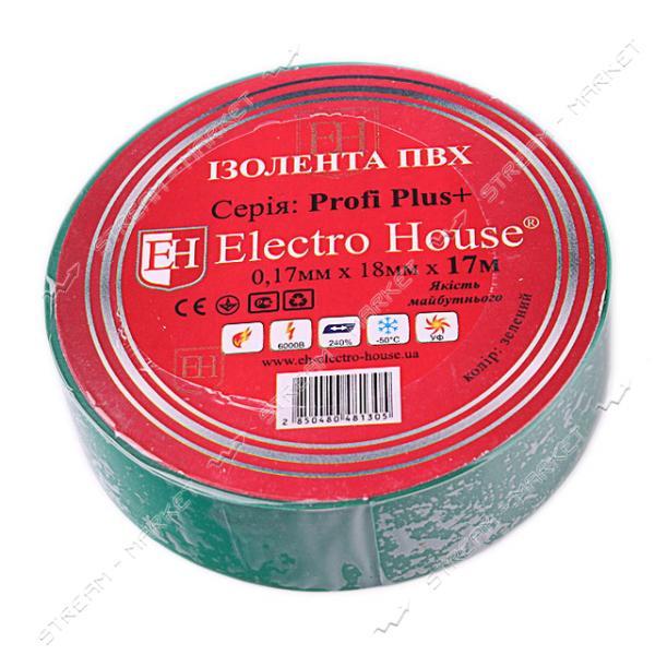 Изолента ПВХ Electro House 18x0, 15мм 17 м зеленая
