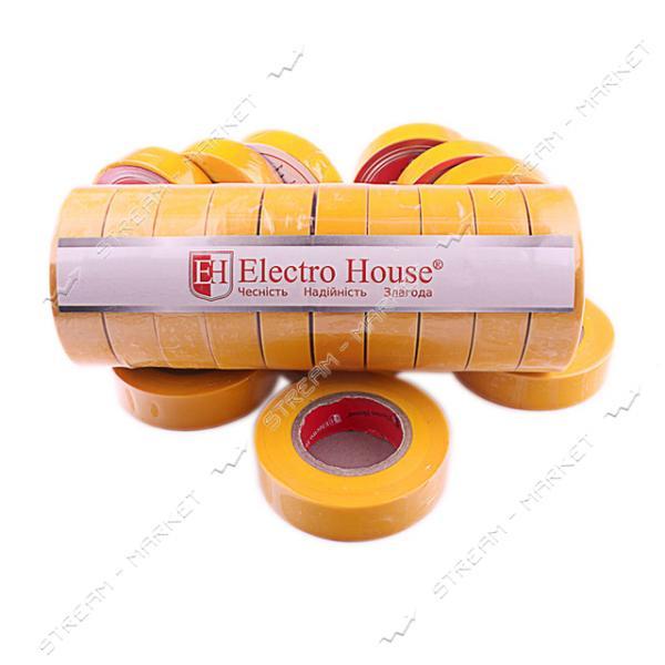 Изолента ПВХ Electro House 18x0, 15мм 21 м желтая