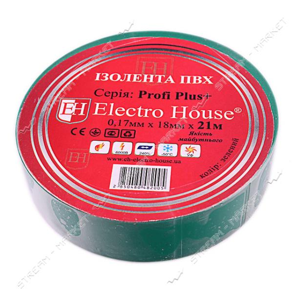 Изолента ПВХ Electro House 18x0, 15мм 21 м зеленая