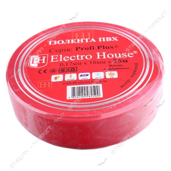 Изолента ПВХ Electro House 18x0, 15мм 25 м красная