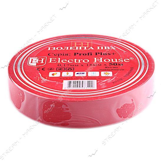 Изолента ПВХ Electro House 18x0, 15мм 50 м красная