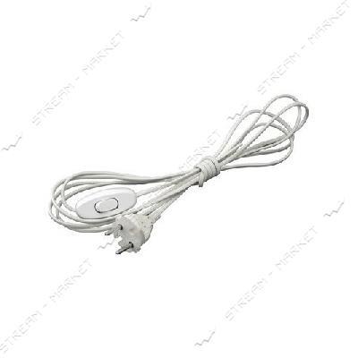 Шнур-бра 1, 2м белый с переключателем (ALFA) для бра и торшеров 6А 220В (1, 2м)
