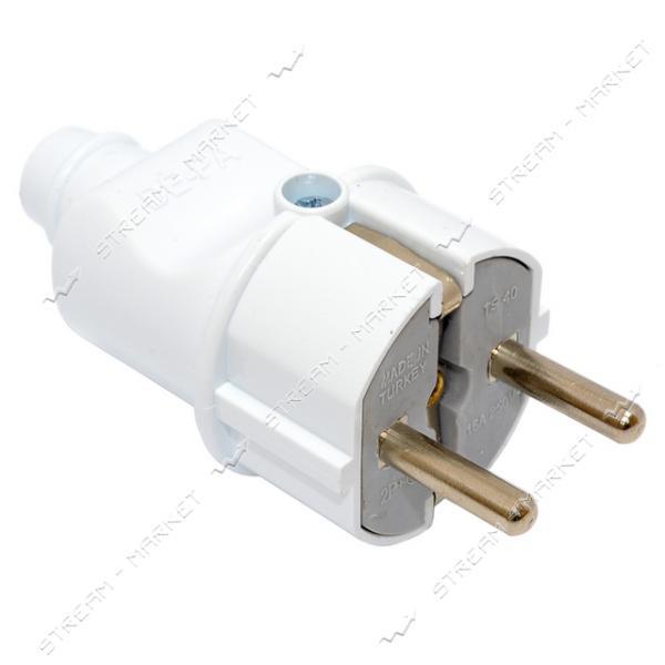 Вилка прямая DE-PA 11101 с заземлением 16А белый