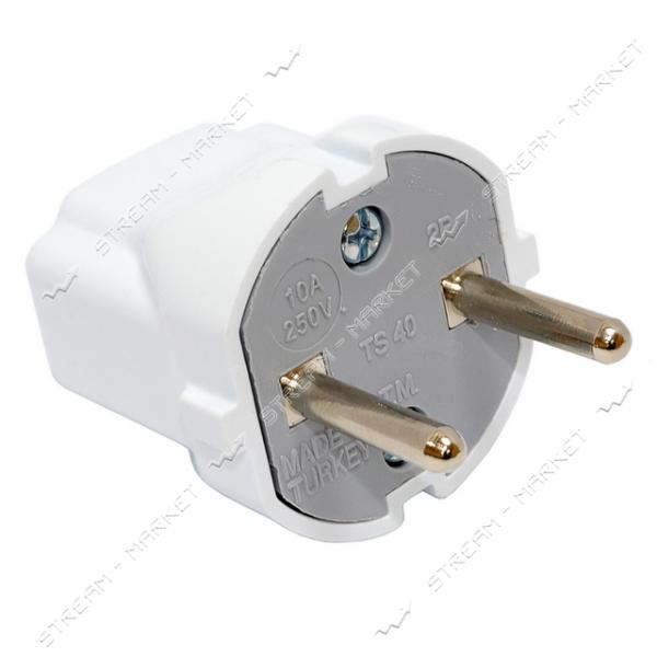 Вилка DE-PA 11104 10А белый