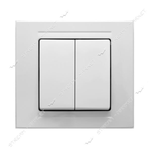 Выключатель двухклавишный Gunsan Moderna 2911103 белый
