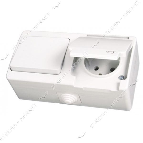 Блок выключатель/розетка с заземлением Gunsan NEMLI YER 0711181