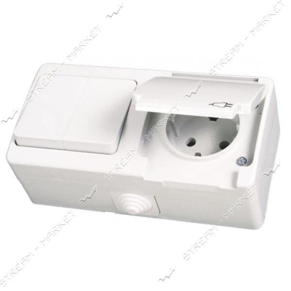 Блок выключатель двухклавишный/розетка с заземлением Gunsan NEMLI YER 0711183 белый