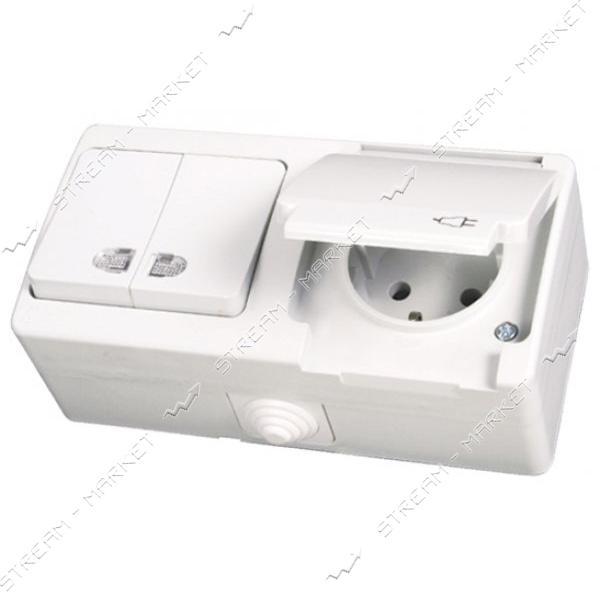 Блок выключатель двухклавишный с подсветкой/розетка с заземлением Gunsan NEMLI YER 0711184 белый