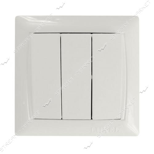 Выключатель тройной LUXEL PRIMERA 3013 белый 10шт