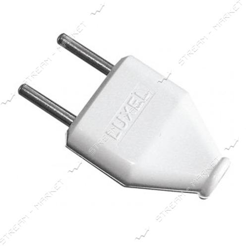 Вилка плоская LUXEL 1006 без заземления белая