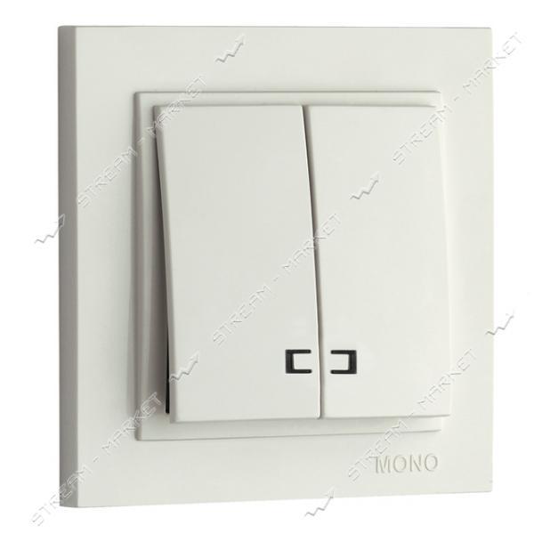 Выключатель двухклавишный 102-190025-103 MONO ELECTRIC Despina с подсветкой белый
