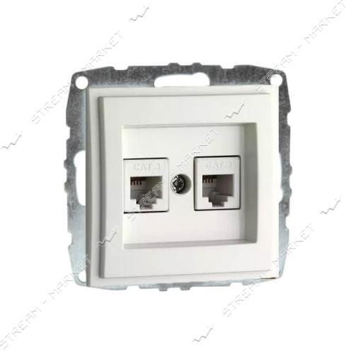 MONO ELECTRIC 500-001905-131 L/D МЕХАНИЗМ Розетка двойная телефон. цифр. (RJ11 САТ3А)белая
